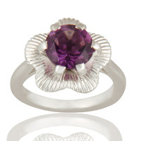 925 Sterling Silver Prong Set Amethyst Gemstone Cocktail Ring
