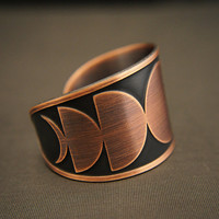 Copper moon phase cuff