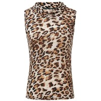 Casual Turtleneck Leopard Sleeveless T-Shirt