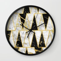 Mixed Marble Triangles // Gold Flecked Black & White Marble Wall Clock by Samantha Ranlet | Society6