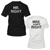 Mr Right and Mrs Always Right Black and White Back Print Couple Matching Shirts