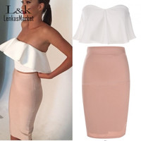 2016 Summer Autumn Two Pieces Set Dress Women Sexy Ruffle Midi Bandage Bodycon Dresses Party Office Club Vestidos S-XL