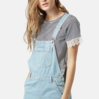Women's Topshop Moto Short Overalls (Light Denim)