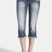 Vigoss Destructed White And Navy Stitch Capri - Dark Sandblast