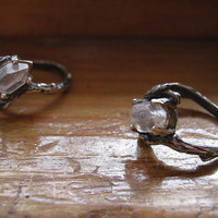 Raw Quartz Crystal From Tibet double terminated Twig Ring Sterling Silver handmade size 4 5 6 7 8 9 10 half sizes unusual natural oddity