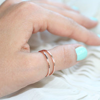 Double Rose Halo Thumb Ring - Set of 2 - Smooth Texture (STERLING SILVER)