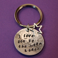 Handstamped Key Ring - I love you to the moon and back