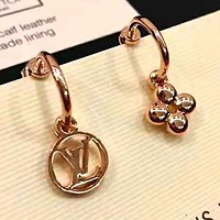 LV Louis Vuitton 925 Silver Needle Newest Stylish Women Simple Earrings Accessories Jewelry Rose Golden