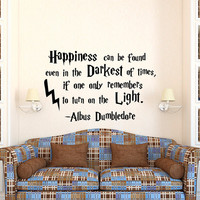 Harry Potter Wall Decal Stickers Happiness Can Be Found Even Hogwarts Wall Decal Quote Children Kids Teens Room Wall Art Home Decor Q236