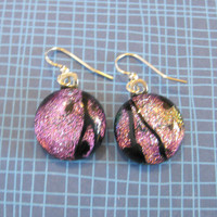 Dichroic Pink Earings, Dangle Earrings, Hypoallergenic, Fused Glass Jewelry - Paula - 1953 -3
