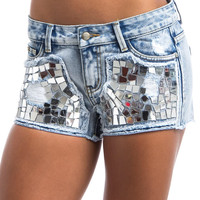 Denim Shorts With Silver