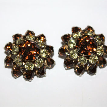 Vintage Rhinestone Earrings, Vintage Clip On Earrings, Amber Earrings, 1950s Estate Jewelry