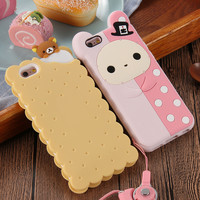 Phone Cases For Apple iPhone 6 6s / Plus / 5 5s Case Cute 3D Cartoon Biscuit Case Soft Silicon Cover Couque For Iphone6 Souple