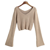 V Neck Long Flare Sleeve Pullover Knitted Sweater in Coffee