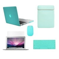 """TopCase Macbook Pro 13"""" 13-inch (A1278/with or without Thunderbolt) 5 in 1 Bundle - Ultra Slim Light Weight Crystal Hard Case Cover + Matching Color Soft Sleeve Bag +Wireless Mouse + Silicone Keyboard Cover + LCD HD Clear Screen Protector -NOT FOR RETINA D"""