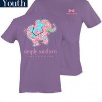 Simply Southern YOUTH Elephant Tee - Purple