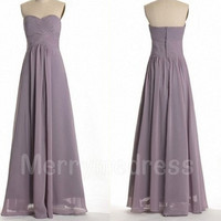 Ruffled Sweetheart Strapless Long Empired Celebrity Dress, Floor length Chiffon Formal Evening Party Prom Dress New Homecoming Dress