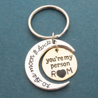 Love you to the moon and back, Custom, Initial, You're my person, Key chain, Love, Moon, Heart, Key ring, Gift, Jewelry, Accessory