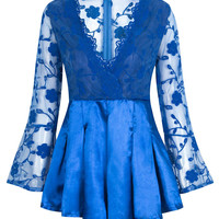 Dark Blue Scalloped V-neck Sheer Lace Overlay Romper Playsuit