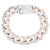 Two Tone Rose 18MM  Lock Miami Cuban Bracelet