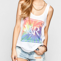 Young & Reckless Tie Dye Womens Double Scoop Tank White  In Sizes