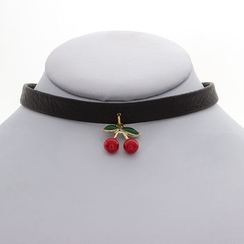Cherry Delight Leather Choker