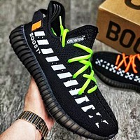 ADIDAS x Off White Yeezy Boost 350 V2 Woman Men Fashion Sport Sneakers Shoes Black(green orange lace up)