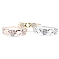 Tiny Clover Ring with CZ crystals Ring in 3 Colors