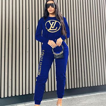 LV  Louis Vuitton New fashion letter print long sleeve sweater top and pants two piece suit Blue