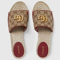 inseva GUCCI New fashion more letter canvas flip flop slippers shoes