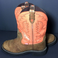 Justin Gypsy Pink Brown Leather Western Cowboy Cowgirl Boots Women's Size 10
