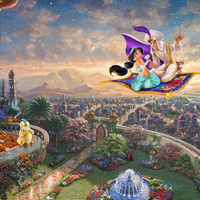 Giclee Print-painted oil Painting on canvas wall decoration Thomas Kinkade Alladin ( NO FRAME)