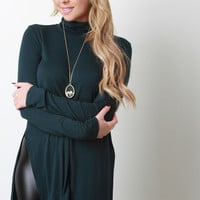 Turtle Neck Long Sleeve Flowy Top