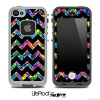 Neon Sprinkles and Black V6 Chevron Pattern Skin for the iPhone 5 or 4/4s LifeProof Case