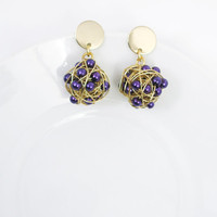 Wire ball dangle earrings with purple seed beads/ purple pearlescent beads