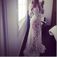 Sexy Lace Evening Party Ball Gown Formal Bridesmaid Cocktail Long Maxi Dress = 4756876676