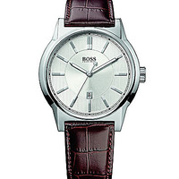 BOSS Hugo Boss Architecture Brown Leather Strap Watch - Brown