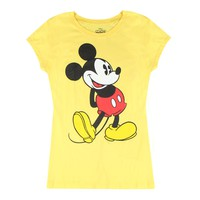 Disney Playful Mickey Mouse Vintage Graphic Printed Junior's Yellow T-shirt