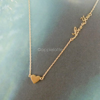 heart necklace with love you letters in gold, silver, pink rose gold