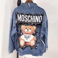 """MOSCHINO"" Autumn Winter Trending Women Stylish Rivet Cute Bear Print Long Sleeve Denim Cardigan Jacket Coat"