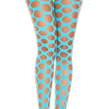 Turquoise Pothole Opaque Spandex Footless Leggings