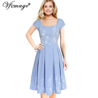 Vfemage Womens Elegant Vintage Floral Flower Print Tunic Work Office Casual Fit and Flare Party A-Line Skater Dress 2525