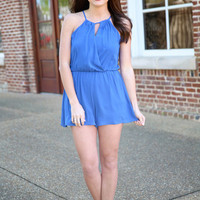 come on with me romper - cobalt