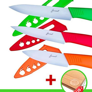 3 Piece Ceramic Knife Set With Blade Covers + Bonus Cutting Board Grips - Great Safe Kitchen Cutting Knives - Colors Red, Orange, Green - Best Vegetable, Utlility, Pairing Knives by Star Infiniti
