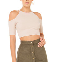 Up Down Suede Skirt - Olive