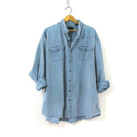 vintage 80s washed out boyfriend shirt. button down shirt. oversized shirt.