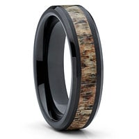 Deer Antler Ring - Tungsten Wedding Band - Deer Antler Wedding Band