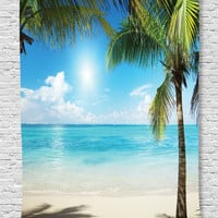 Ambesonne Tropical Beach Decor Collection, Coconut Palms and Shadows on Beach Sea Plants Picture Pattern, Bedroom Living Kids Girls Boys Room Dorm Accessories Wall Hanging Tapestry, Green Blue Ecru