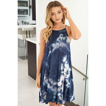 Make Your Own Rules Blue Tie Dye Dress