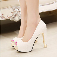 High quality summer sping new sexy  peep toe simple sandals all-match rough simple pumps women square high heels shoes BAOK-b352